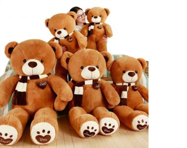4.8 Ft Brown Scarf Soft Stuffed Teddy Bear